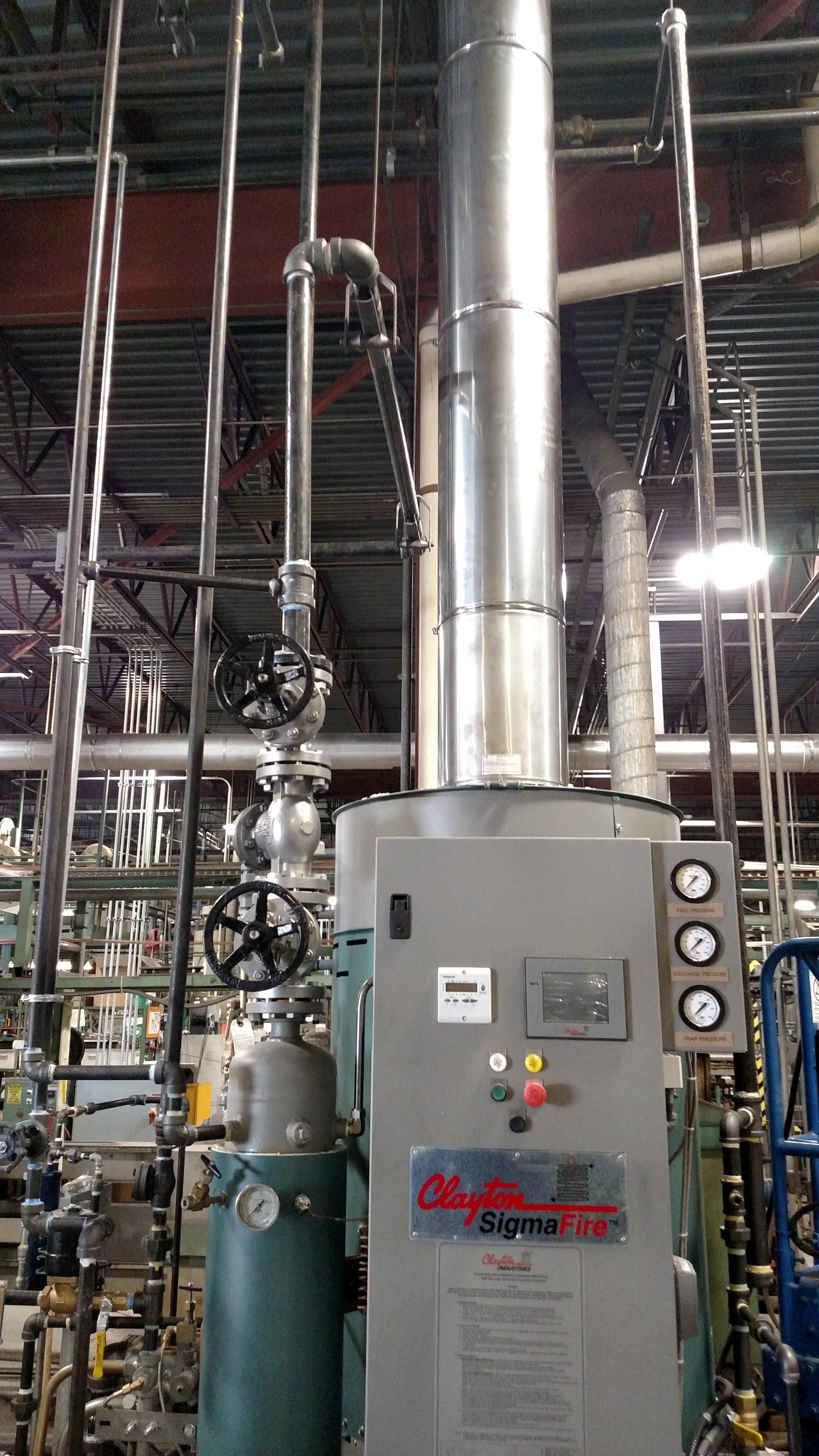 piping clayton steam generator install