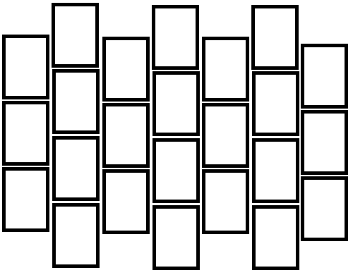 7 columns of rectangles. The first, third, fifth and seventh columns contain 3 rectangles. The second, fourth and sixth columns contain 4 rectangles. The columns are offset so that the bottom of one card is halfway down the adjacent cards.