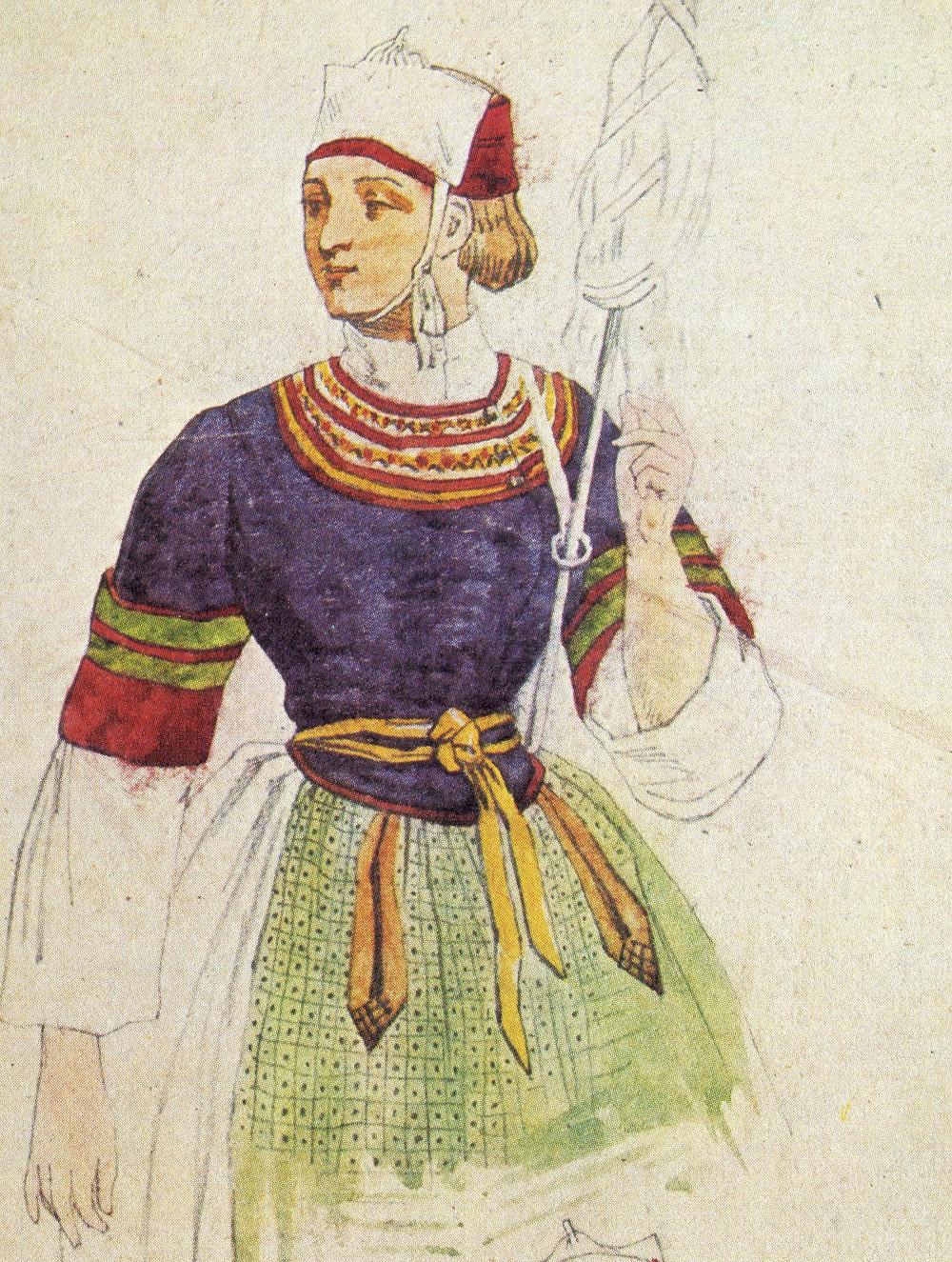 Fileuse de Pont-L'Abbé – source : René Yves Creston, Le costume breton (Ed. Tchou, 1974)