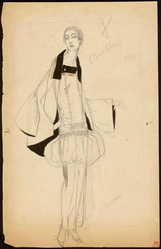 Modèle breton pour une collection de Paul Poiret (dessin de Muguette Buhler, 1922) © Musée des Arts Décoratifs