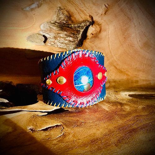 Bracelet artisanal en cuir et pierre SHATTUCKITE