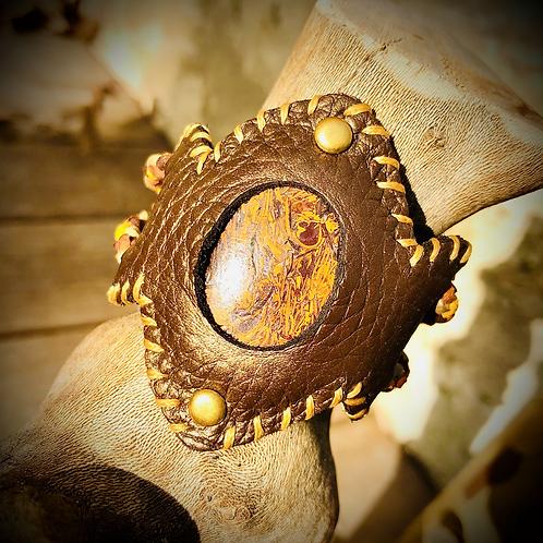 Bracelet cuir/ cordon et Jaspe Mariam