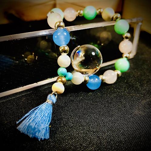 Bracelet artisanal Aigue marine, Jade, Quartz rose, turquoise