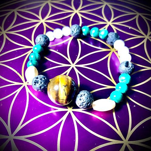 Bracelet Oeil de tigre / Pierre de lune/ Malachite / Pierre de lave