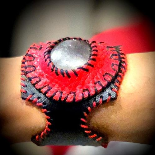 Bracelet cuir et Cristal de roche brossé