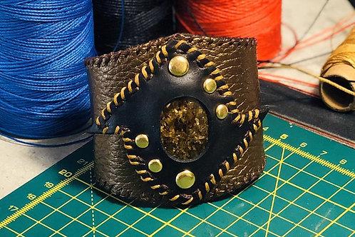 Bracelet cuir et pierre bronzite