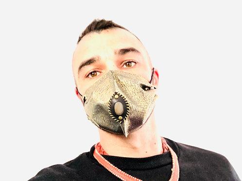 Masque cuir strass doré et agate