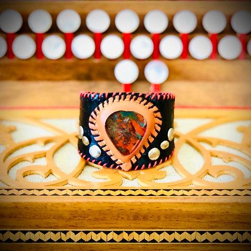 Bracelet artisanal en cuir et JASPE ROUGE