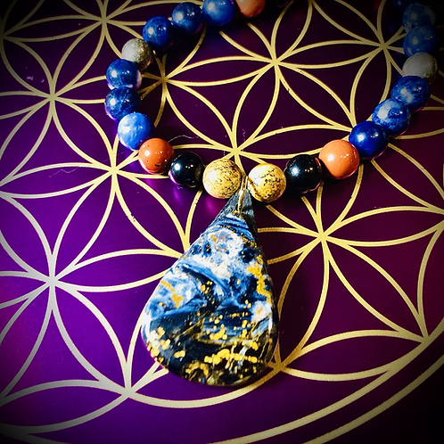 Collier long pendentif Pietersite , perles pierres naturelles