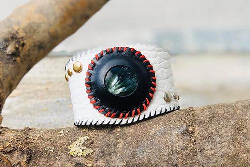 Bracelet Cuir blanc et pierre Seraphinite