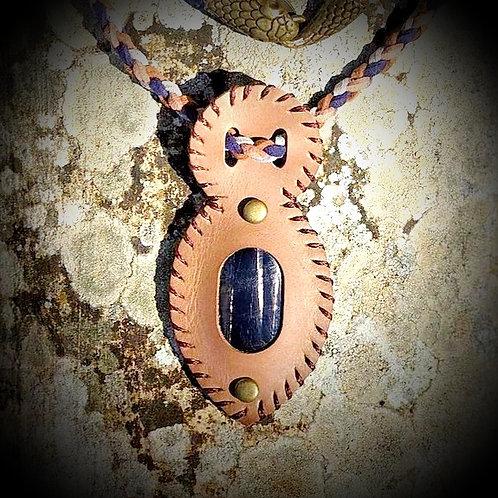 Collier cuir et pierre Hyperstene