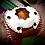 Thumbnail: Bracelet artisanal en cuir bordeaux pierre Oeil de taureau