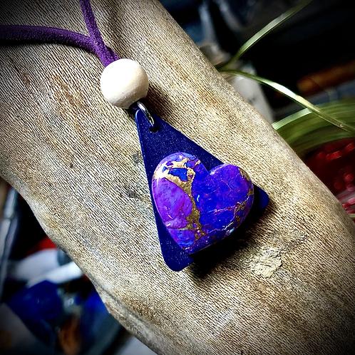 """Collier """"coeur """" de mohave purple  turquoise"""