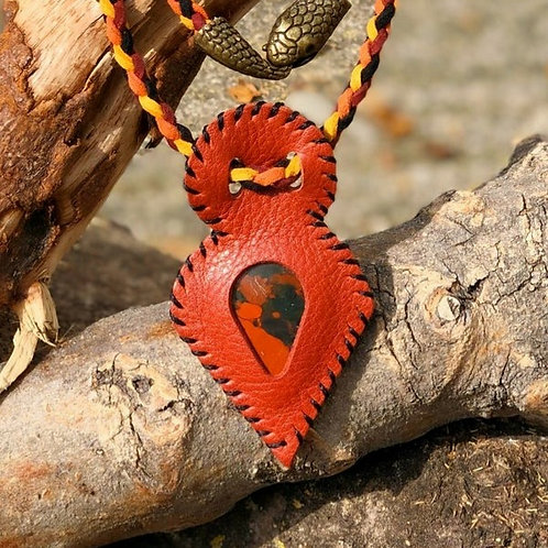 Collier Cuir rouge et Jaspe rouge