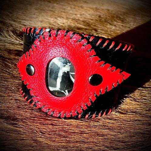 Bracelet cuir/ pierre Septaria