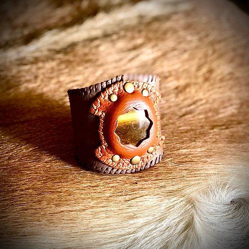 Bracelet en cuir et Oeil de tigre