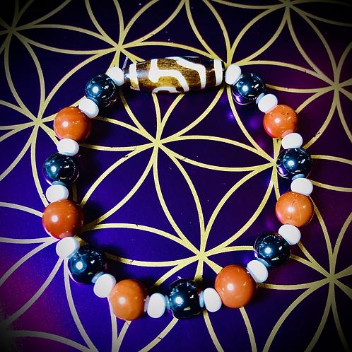 Bracelet perles Jaspe rouge/ Hématites