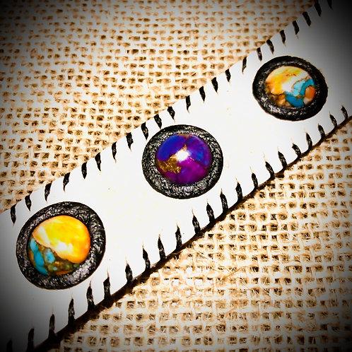Bracelet fin en cuir et Mohave oyster, purpule cooper turquoises
