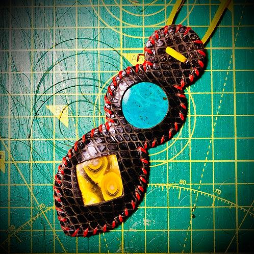 Collier en cuir et 2 pierres combinées : JASPE BOURDON et CHRYSOCOLE