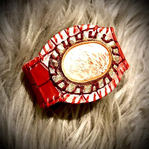 Bracelet artisanal en cuir et Scolecite
