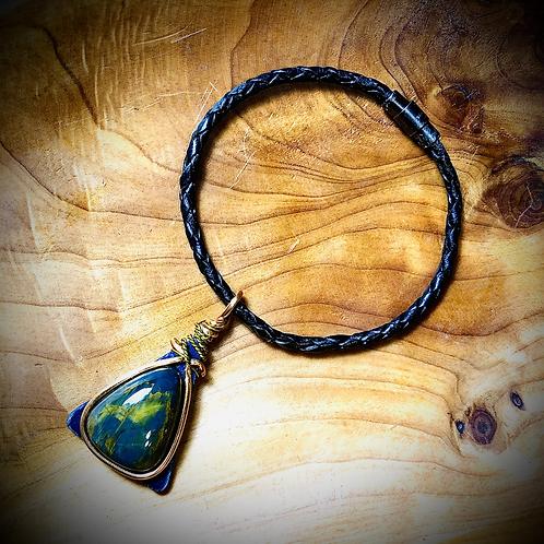 Bracelet artisanal en cuir, bois, Pietersite