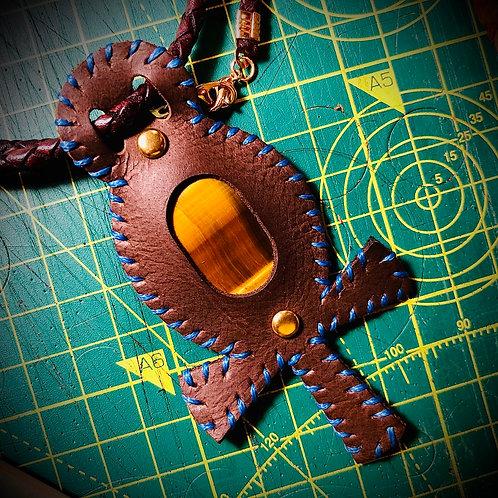 Collier pendentif cuit Oeil de tigre/faucon