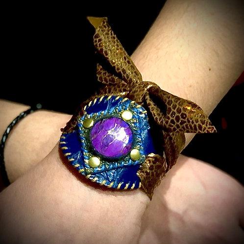 Bracelet artisanal en cuir, tissu et Turquoise
