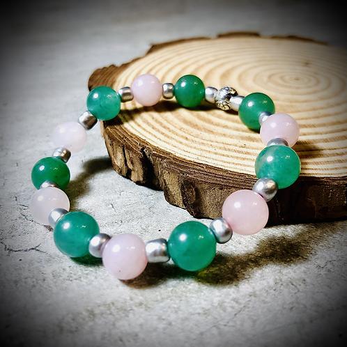Bracelet artisanal Jade et Quartz rose