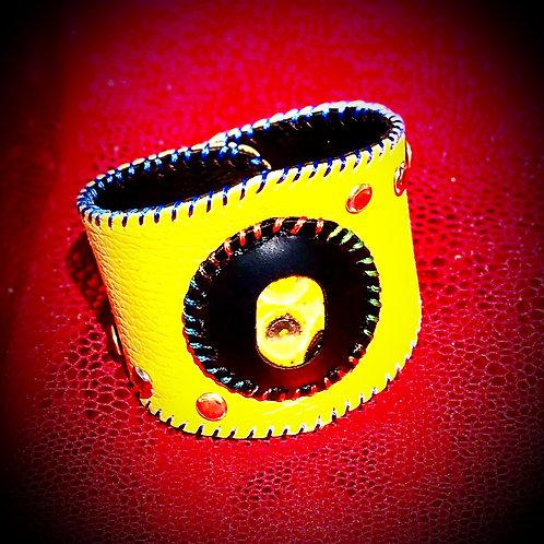 Bracelet cuir jaune et Jaspe Bourbon