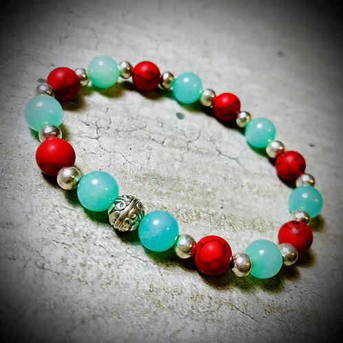 Bracelet artisanal Jade/ Howlites rouges