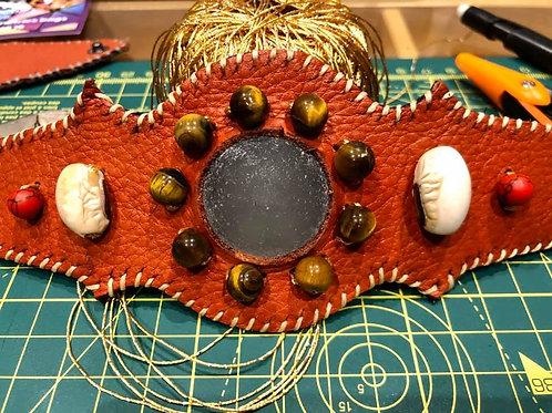 Bracelet Cuir orange Cristal de roche brossé Oeil de tigre Corail rouge Graine