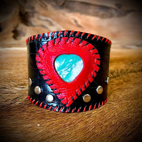 Bracelet artisanal en cuir et Variscite