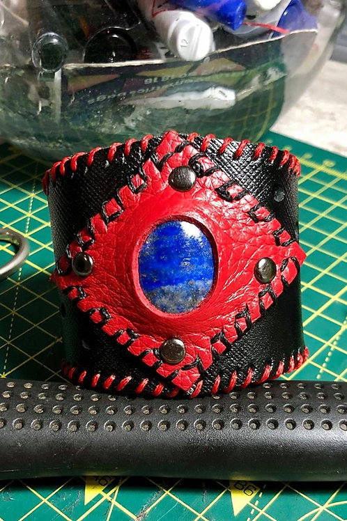 Bracelet Cuir noir rouge Lapis Lasuli