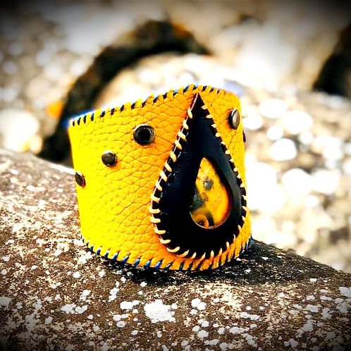 "Bracelet cuir jaune ""Jaspe Bourdon"""