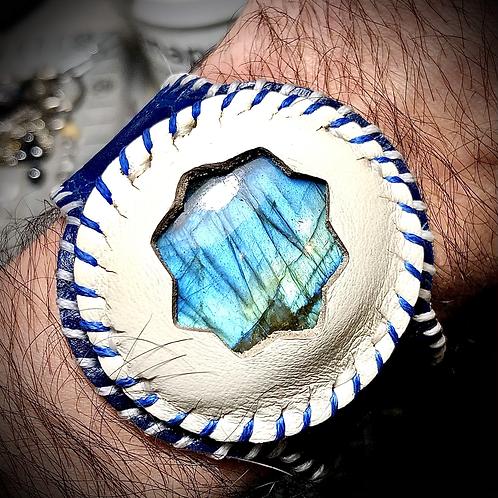 Bracelet artisanal en cuir Labradorite