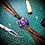 Thumbnail: Bracelet artisanal en cuir, tissu et Turquoise
