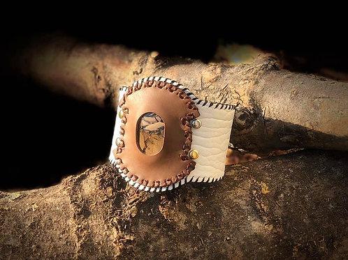 Bracelet Cuir blanc et Agate Thundereggs