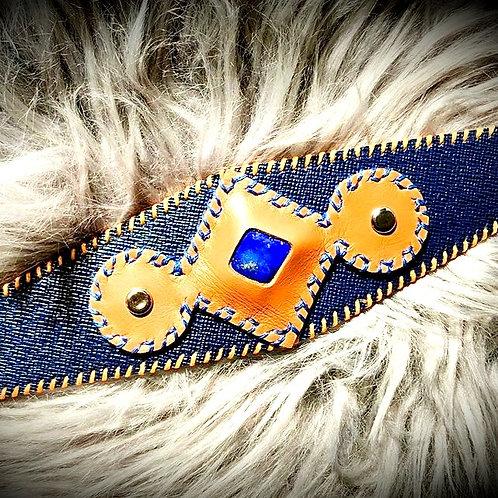 Bracelet cuir bleu marron et Lapis lazuli