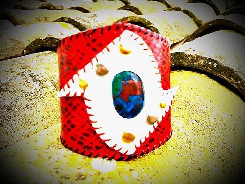 Bracelet cuir de luxe rouge laqué imprimé croco et Azurite