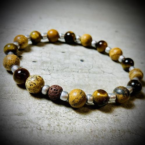 Bracelet artisanal Oeil de tigre/ Jaspe paysage