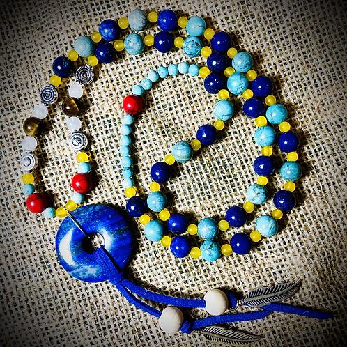 Collier «Mala ethnique» pendentif Lapis lazuli, pierres naturelles variées