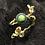 Thumbnail: Bracelet artisanal en aluminium ionisé, bois et Pierre turquoise