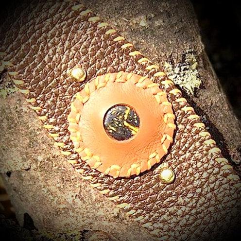 Bracelet cuir marron doré et Bronzite