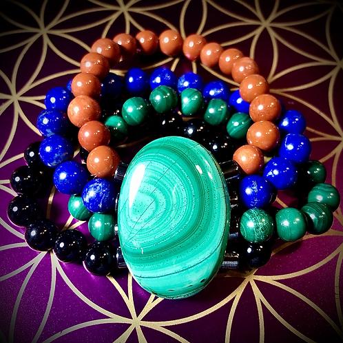 Bracelet Malachite/ Jaspe rouge/ Lapis-lazuli / Tourmaline
