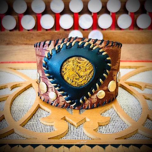 Bracelet artisanal en cuir et JASPE MARIAM