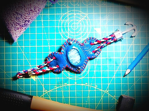 "Bracelet cordon ""Aigue Marine"""