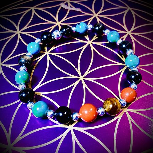 Bracelet artisanal en perles de pierres naturelles semi précieuses