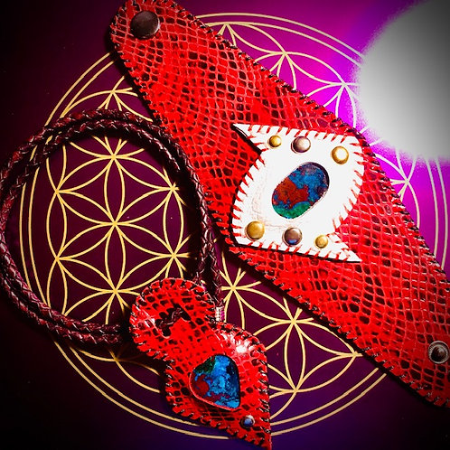 """Parure luxe rouge/noir """"Azurite"""""""