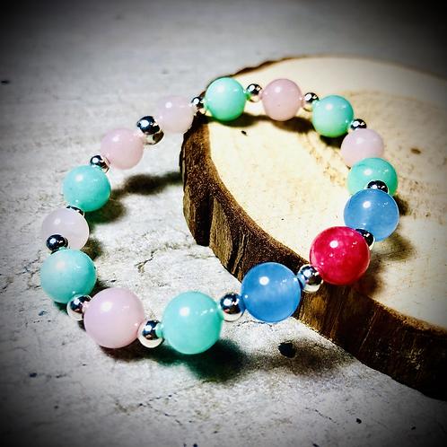 Bracelet artisanal perles de pierres naturelles semi précieuses