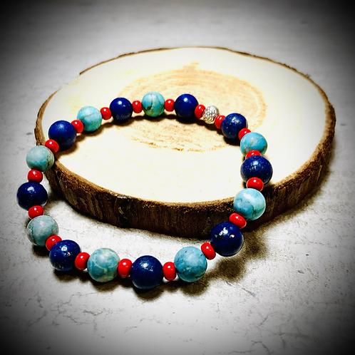 Bracelet artisanal pierres naturelles : Turquoises / Lapis lazuli